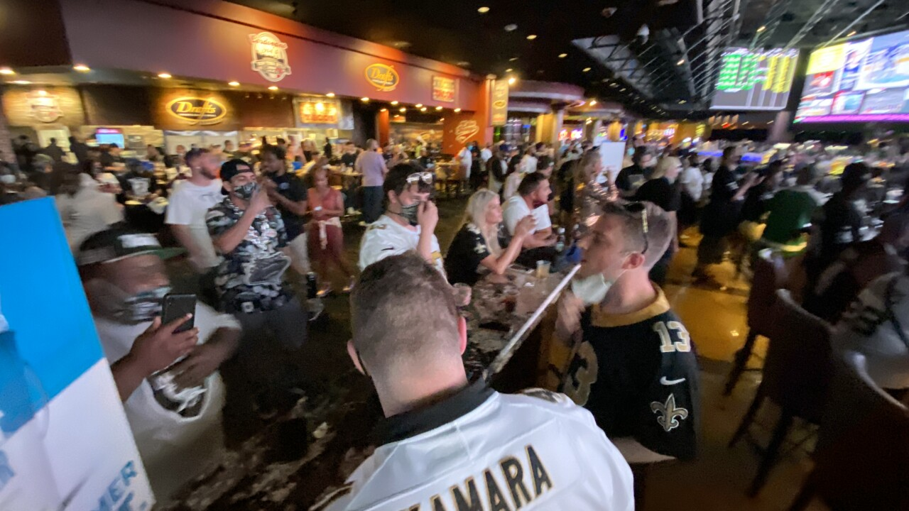 The Las Vegas Raiders played their first home game at Allegiant Stadium and some fans watched from the Westgate Superbook on Sept. 21, 2020