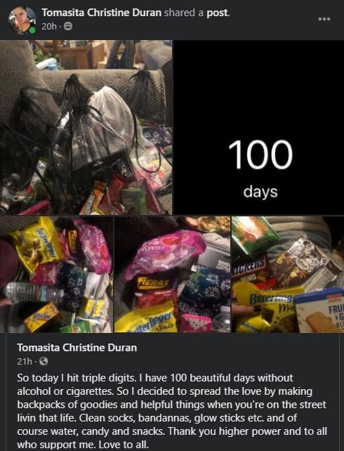 """Toni"" Duran making backpacks to donate to the homeless."