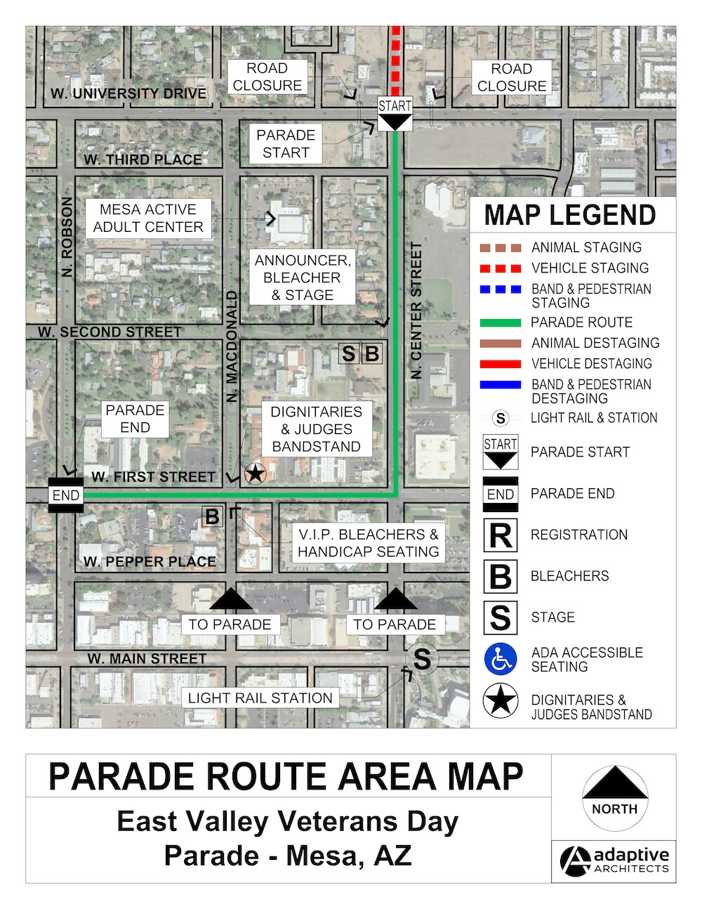 Map of the East Valley Veterans Day Parade route