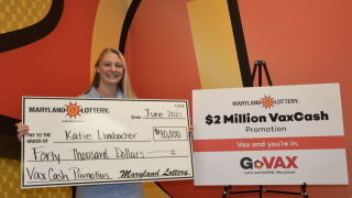 High school teacher Katie Limbacher claimed a $40,000 prize as the June 4 winner in the $2 Million VaxCash Promotion.