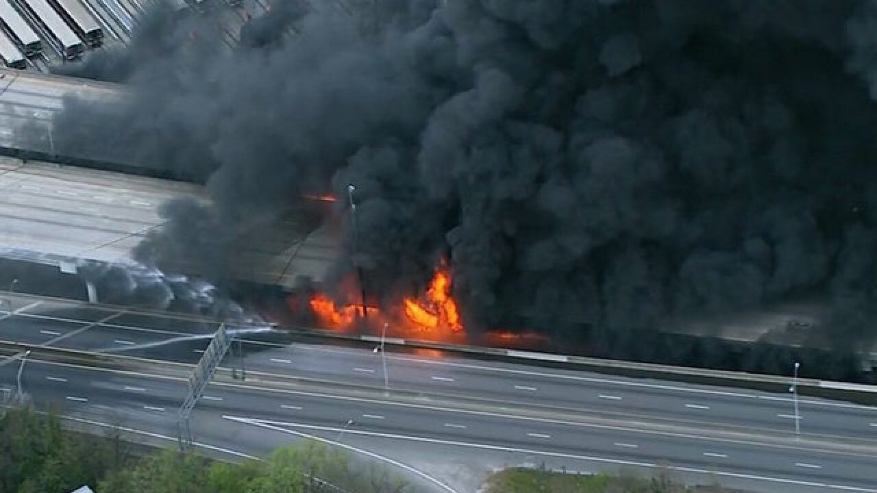 Massive fire causes interstate overpass to collapse in Atlanta