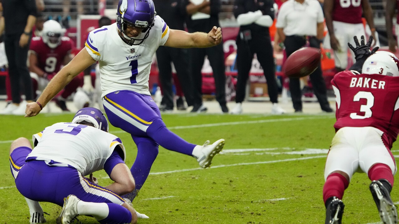 The Minnesota Vikings put together a near-perfect final drive, picking their way down the field while managing the clock so they would get the final play of a wild game in the desert. All that was missing was the finish. AP photo.