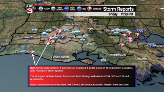 National Weather Service post-storm assessment: 8 tornadoes in Acadiana Thursday