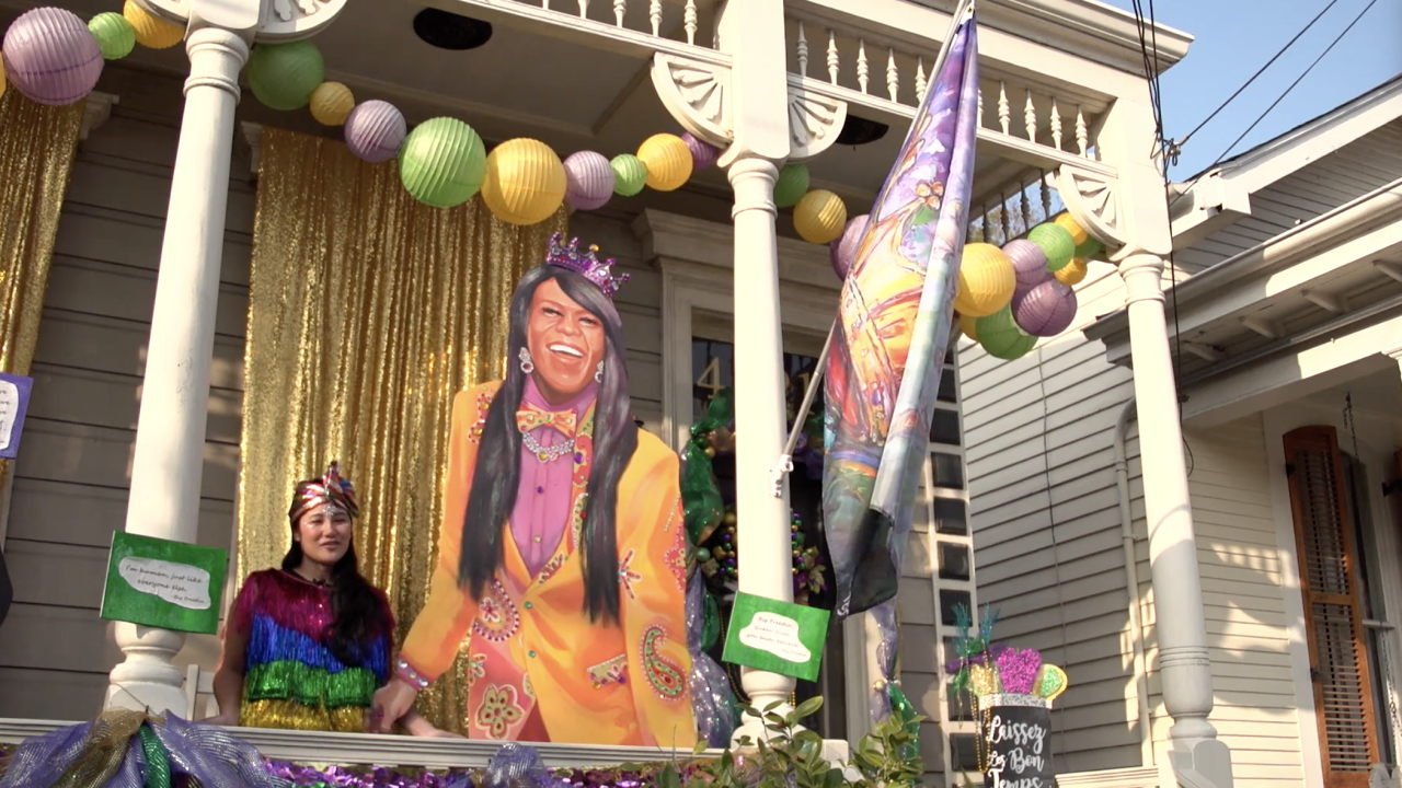 Sarena Teng decorated her New Orleans house float, 'The Queen of Bounce House,' in an homage to Bounce music recording artist and local celebrity Big Freedia. Many people have stopped by to see it - some coming in from as far away as Georgia and Maryland.