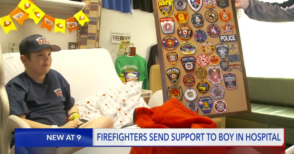 Boy requests firefighter memorabilia to decorate Primary Children's Hospital room as he waits for heart transplant