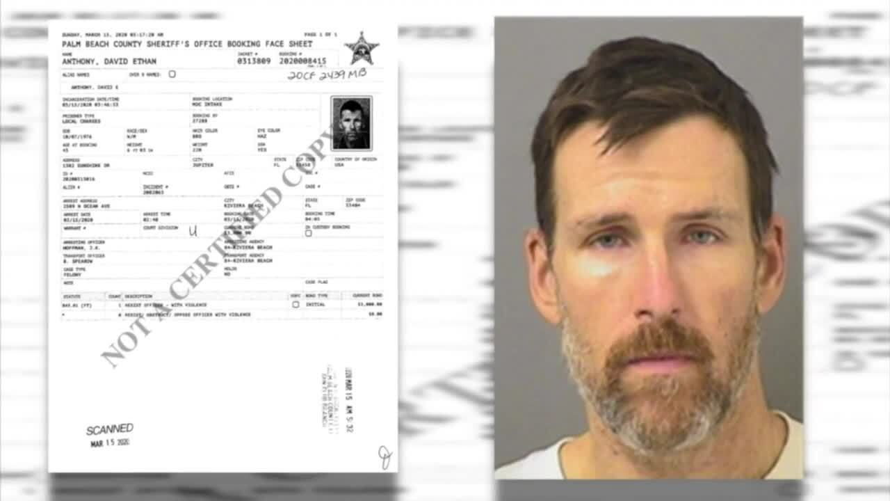 David Anthony arrest photo next to booking information