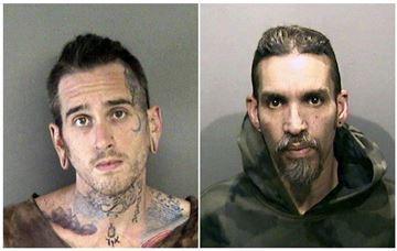 Max Harris, left, and Derick Almena at Santa Rita Jail in Alameda County, Calif.