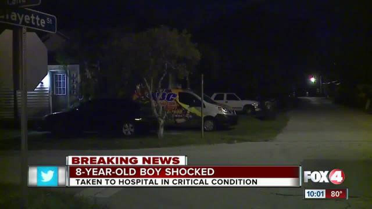 Boy in critical condition after being shocked