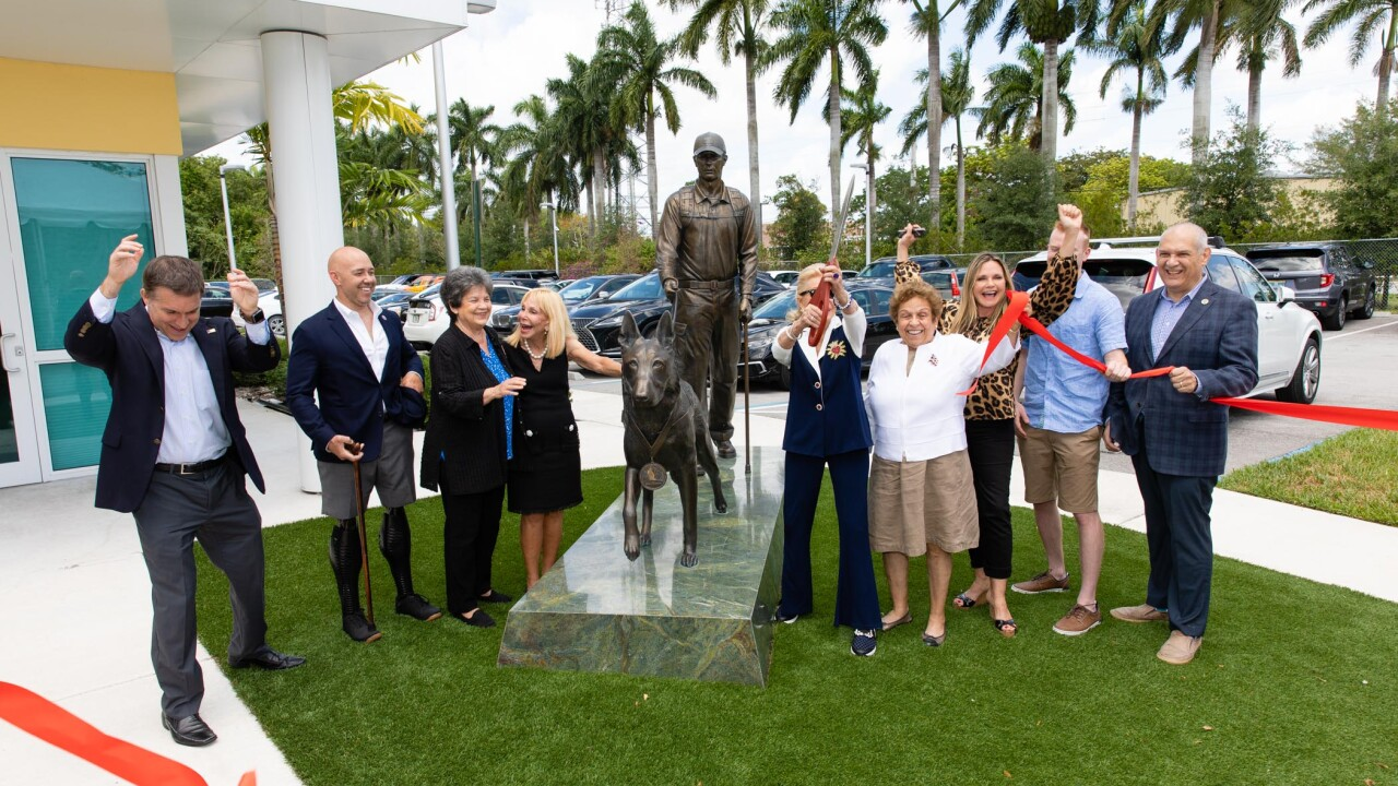 On Saturday local leaders unveiled an American military hero dog monument at the Tri-County Animal Rescue in Boca Raton.