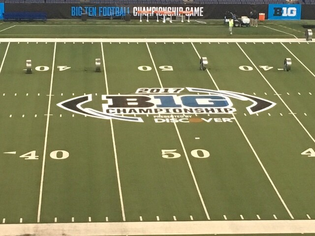 PHOTOS: Big Ten logo painted at Lucas Oil Stadium