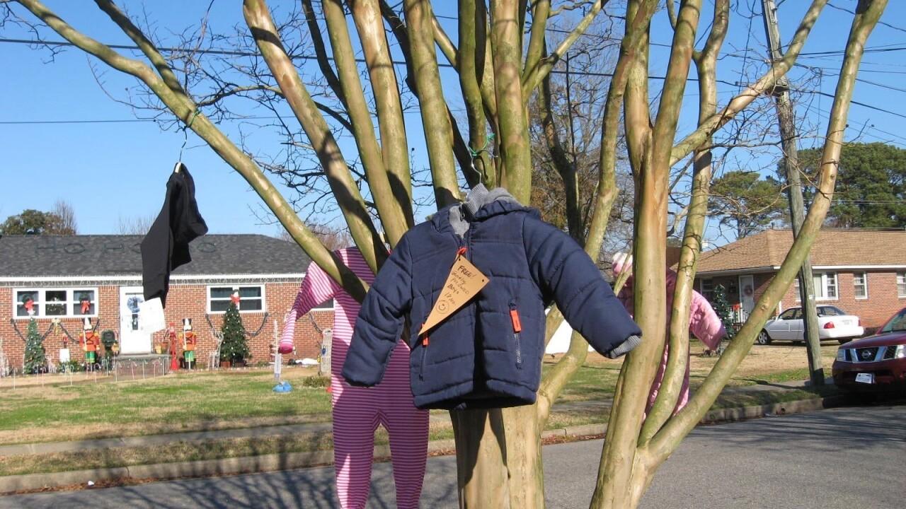 Norfolk woman hangs free clothing on 'giving tree' to help neighbors inneed