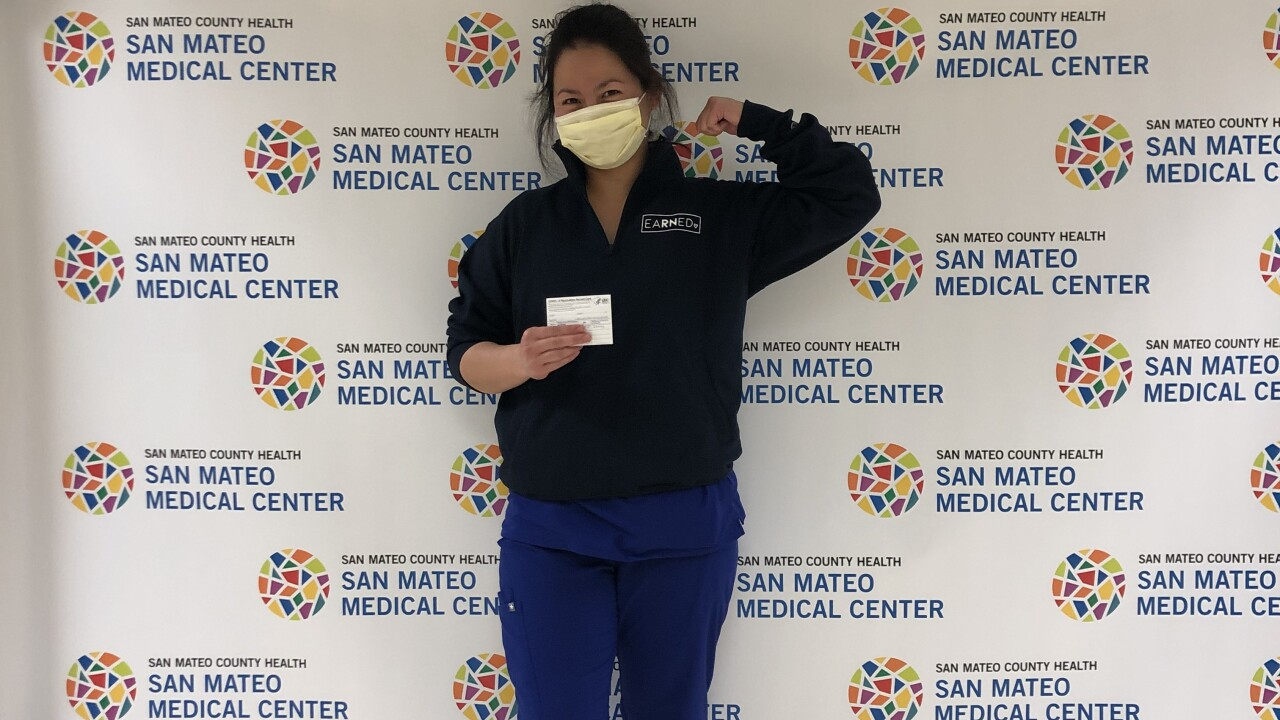 Andrea Garcia received her second dose of the COVID-19 vaccine on Wednesday, Jan. 27, 2021 and celebrated by taking a photo.