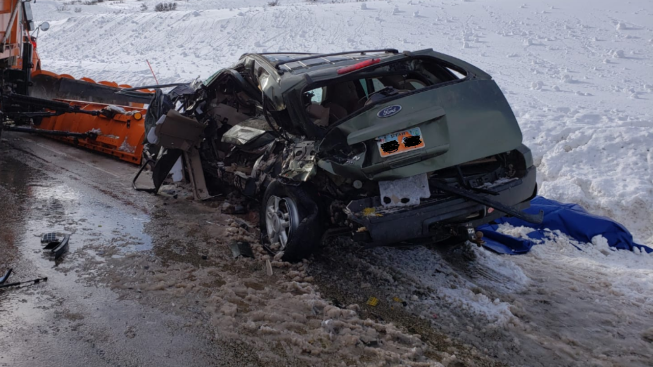 Authorities identify pair killed in head-on crash with snowplow amid winter conditions on US-40