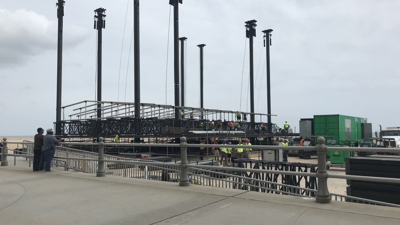 Crews building Something in the Water Festival stages prepare for severeweather