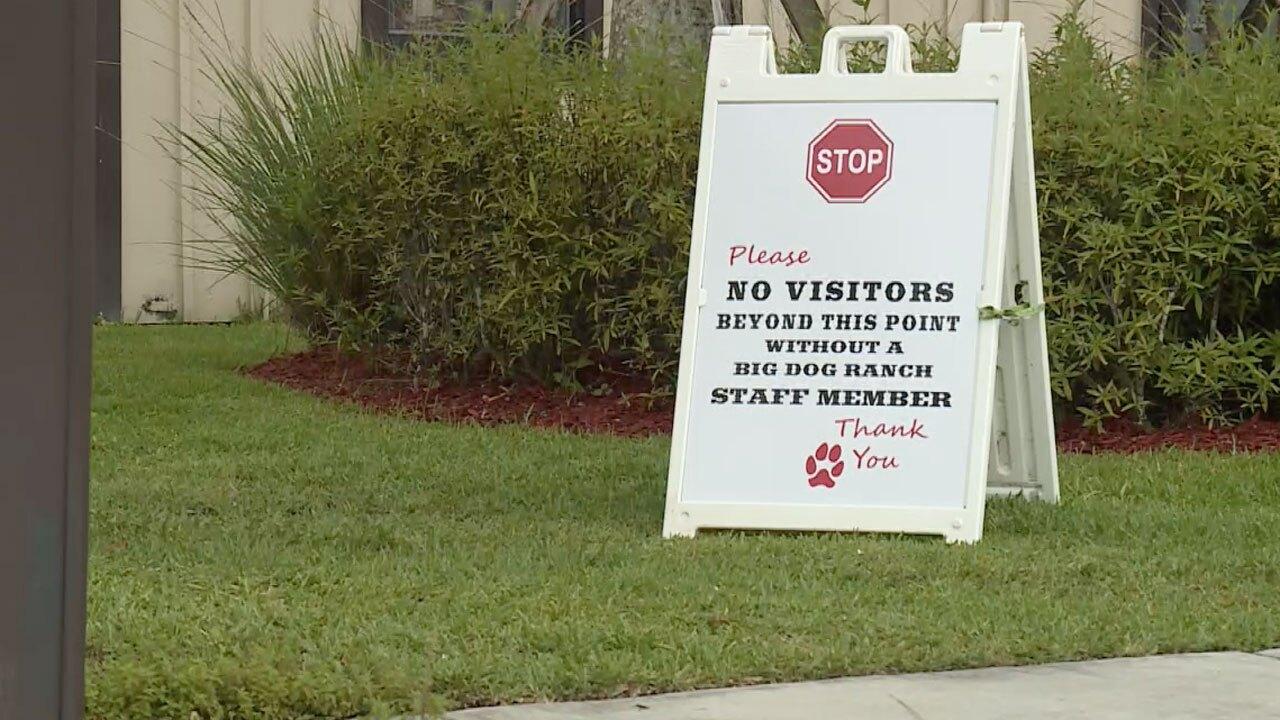 No visitors sign at Big Dog Ranch Rescue