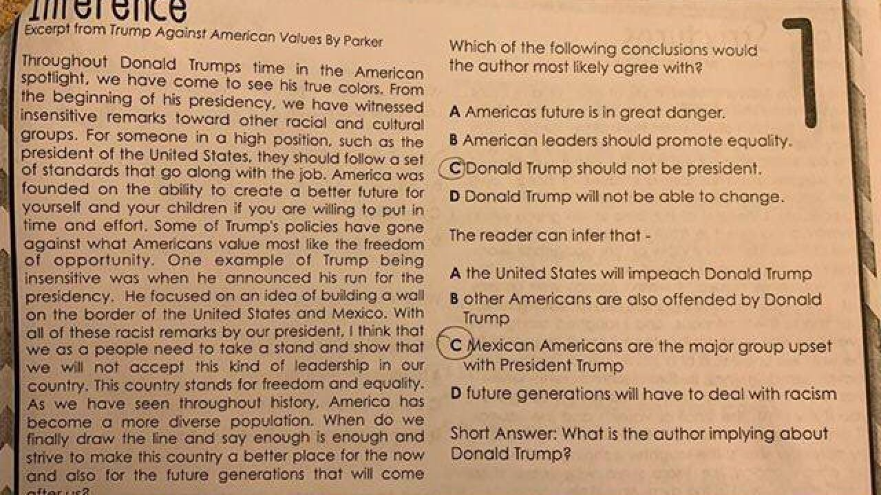 Texas school district receives death threats after Trump-related homework assignment