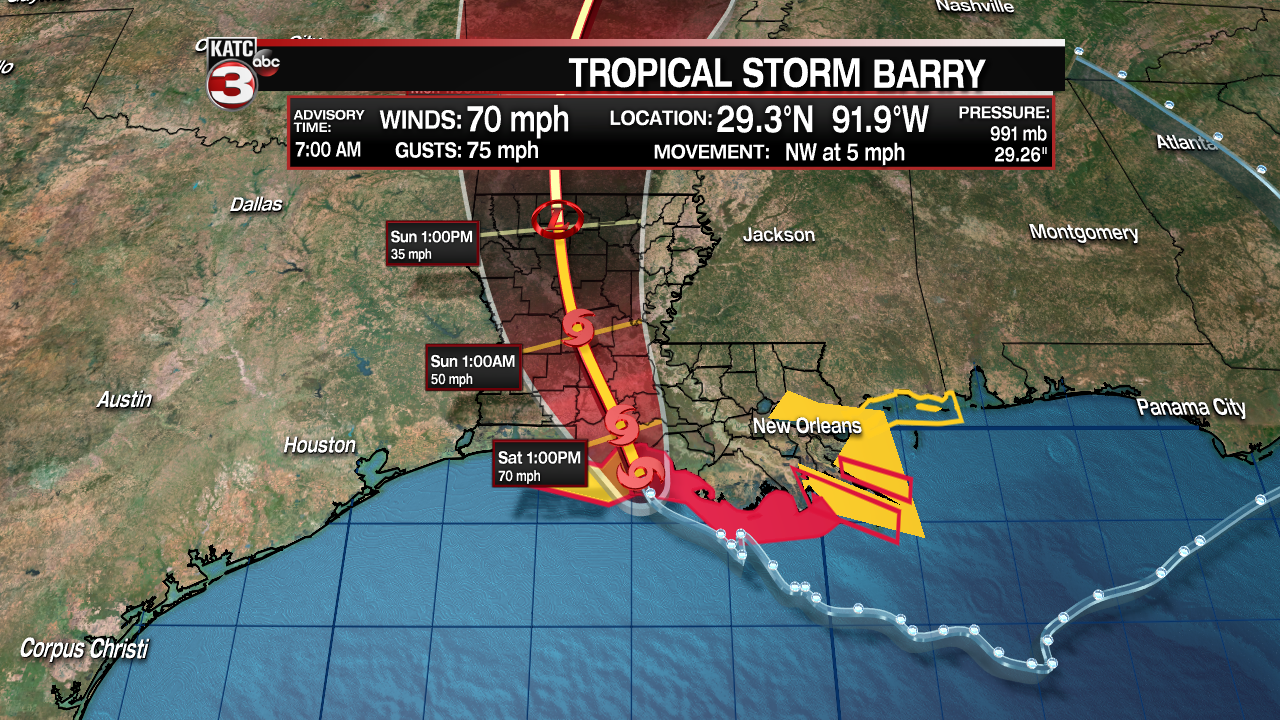 7 am update Tropical Storm Barry