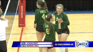 Schoolcraft volleyball falls in five set state championship match