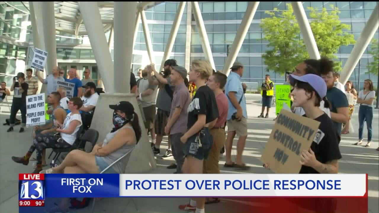 Group protests officers' handling of Inland Portrally