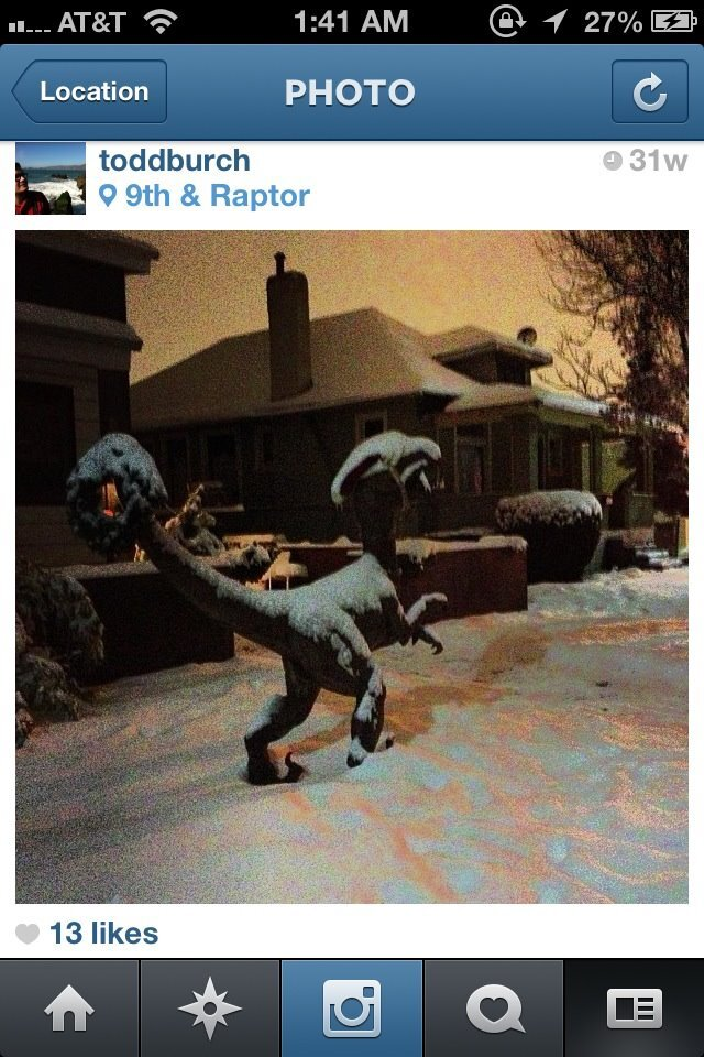 Photos: 'Rapty' the raptor statue goes missing