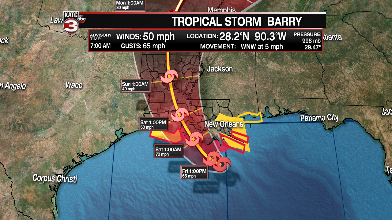 TS Barry 7 am update 7-12