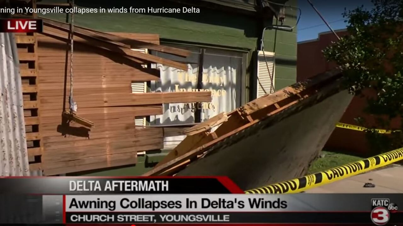Awning collapses in Youngsville.JPG
