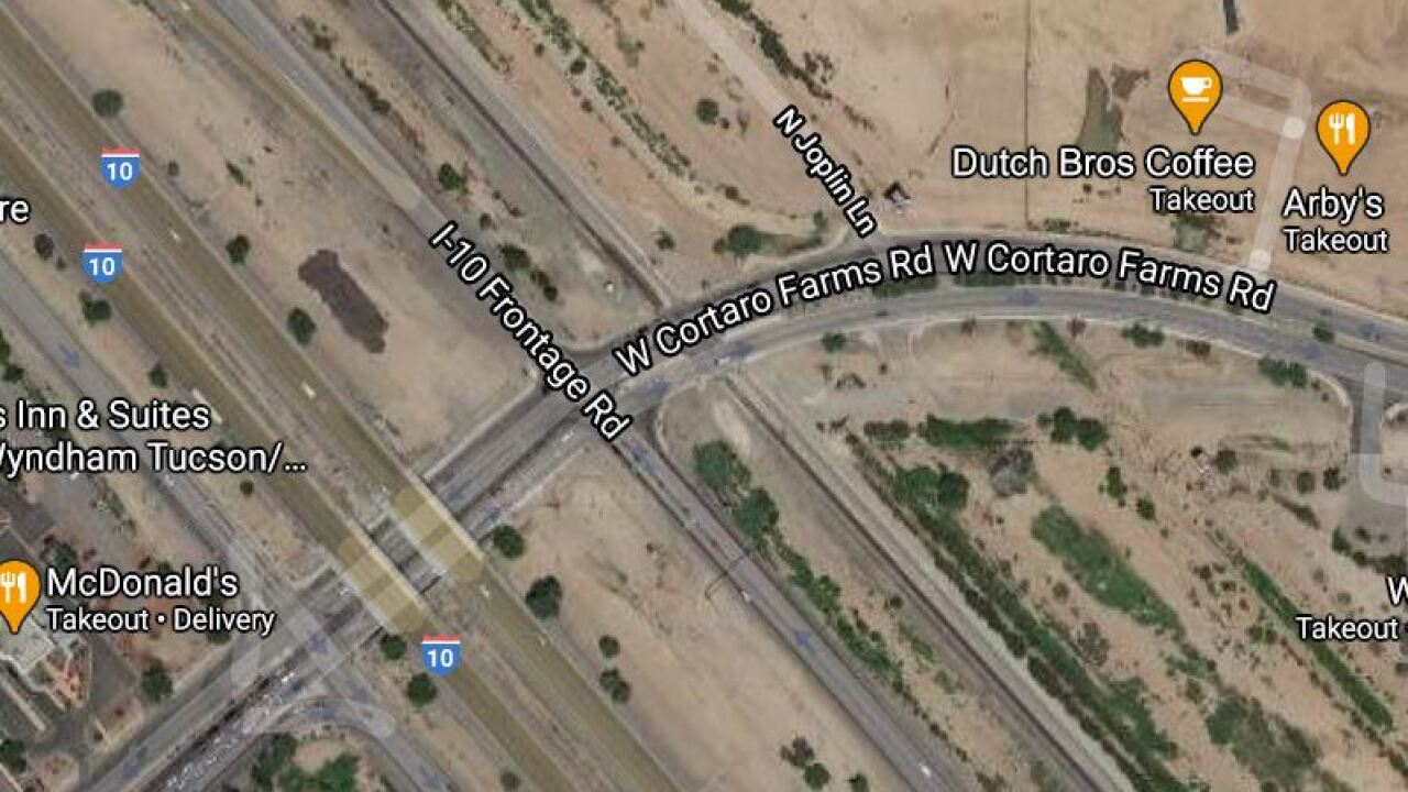 Union Pacific Railroad is shutting down Cortaro Farms Road at the train tracks Wednesday and Thursday. Photo via Google Maps.