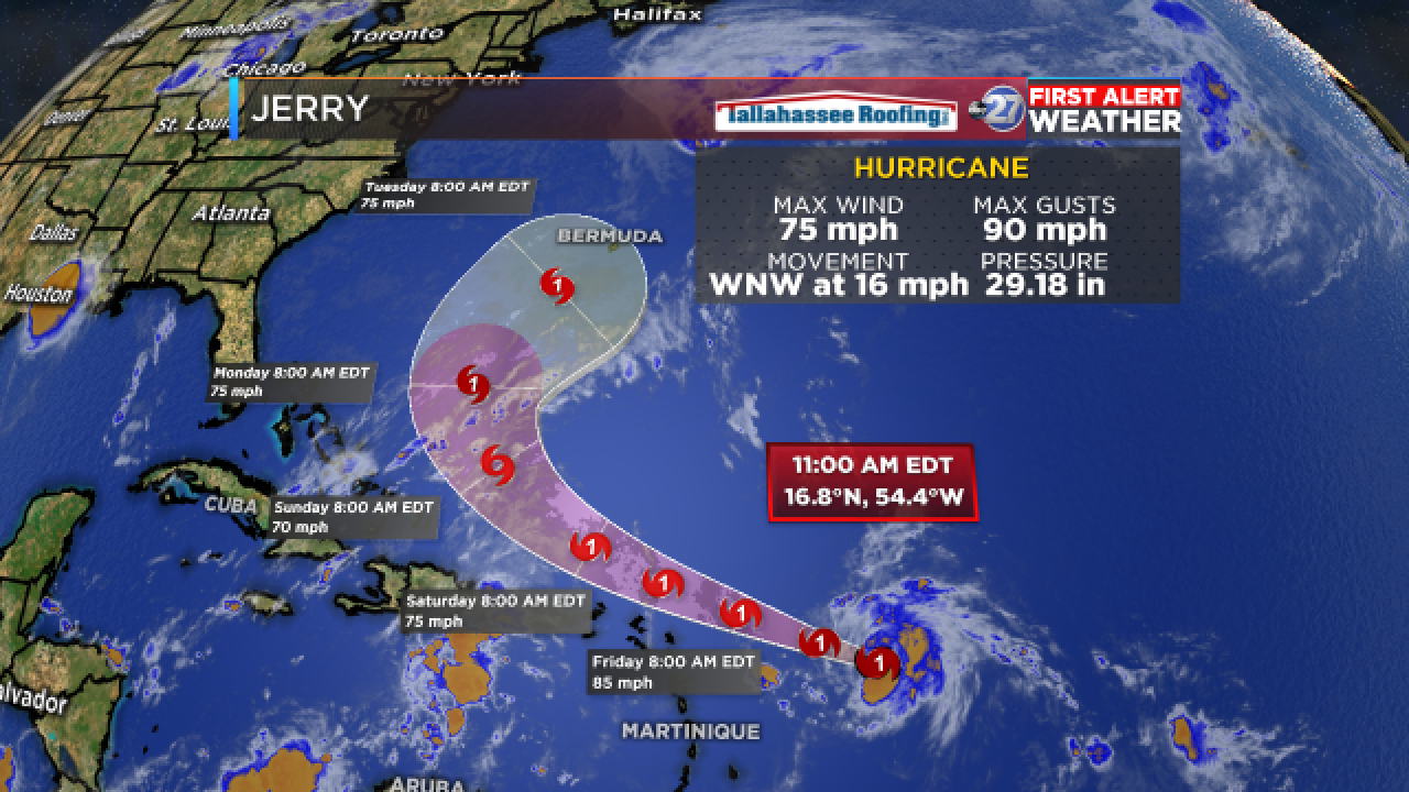 Jerry strengthens to Category 1 hurricane in Atlantic