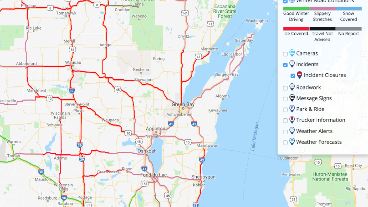 Slippery Road Conditions Across Northeast Wisconsin