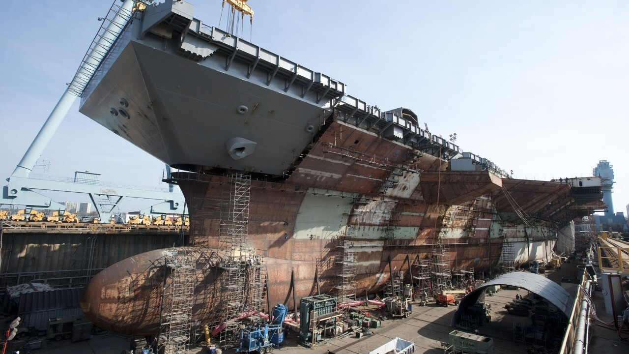 Newport News Shipbuilding completes USS Gerald R. Ford flight deck