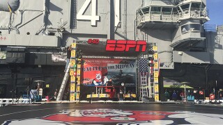 Battle on the Midway: Fresno State faces Stanford in college wrestling contest aboard USS Midway