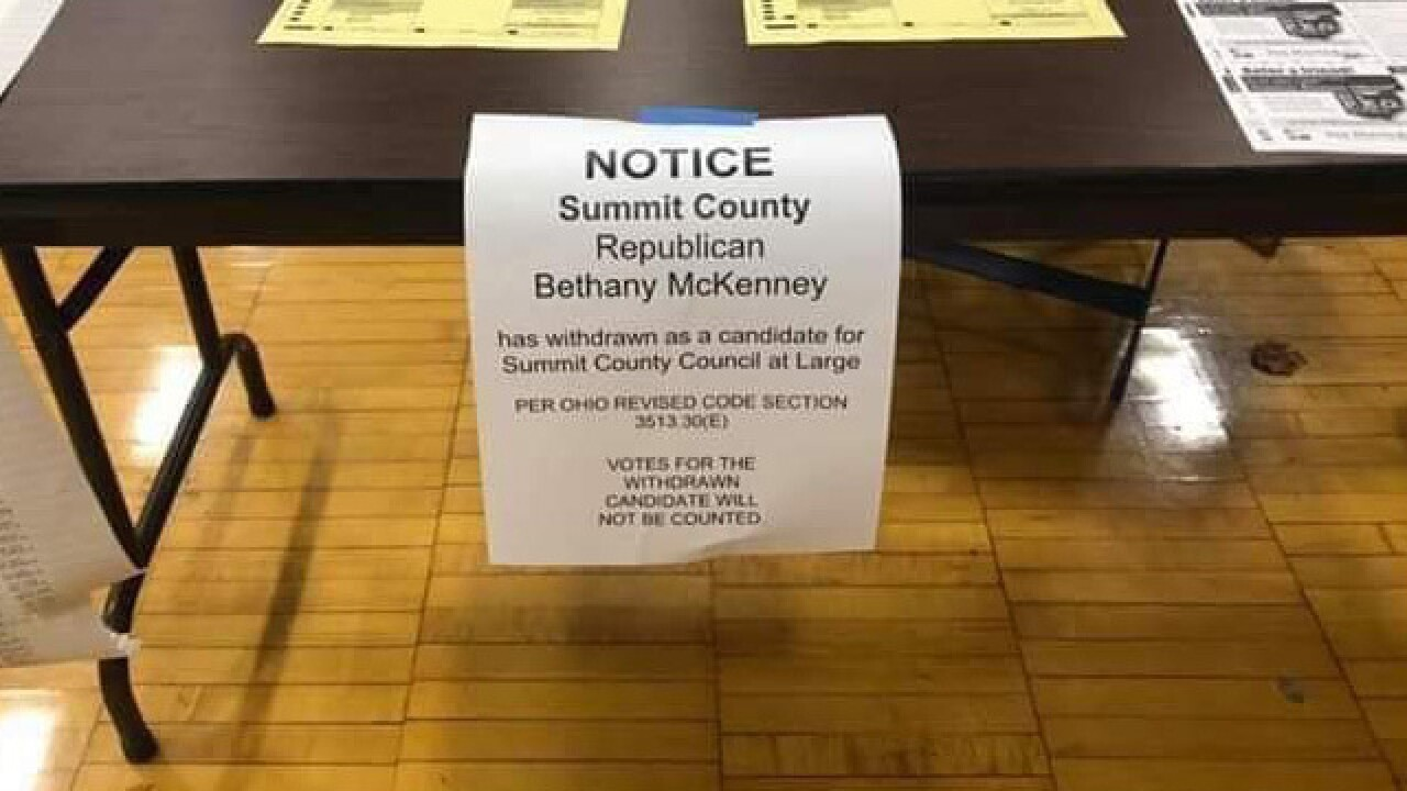 Signs at polling locations in Summit County incorrectly say candidate dropped out