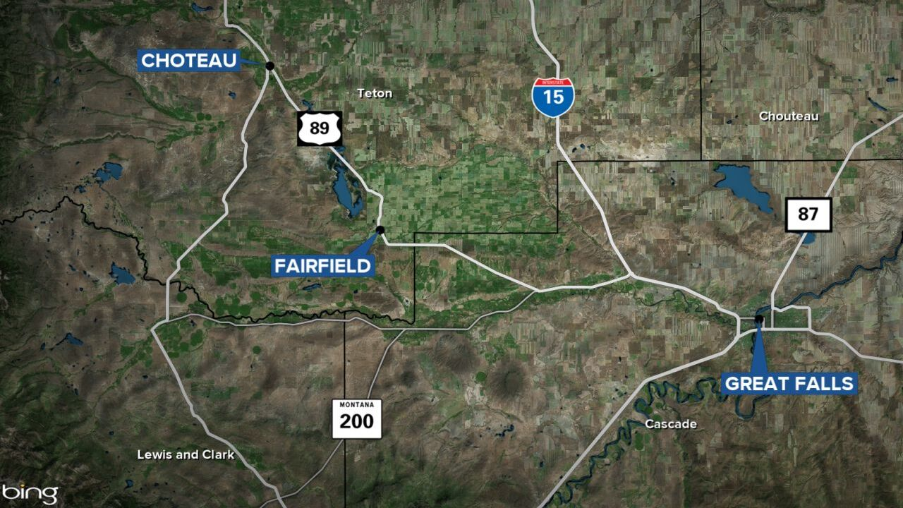 Choteau and Fairfield map