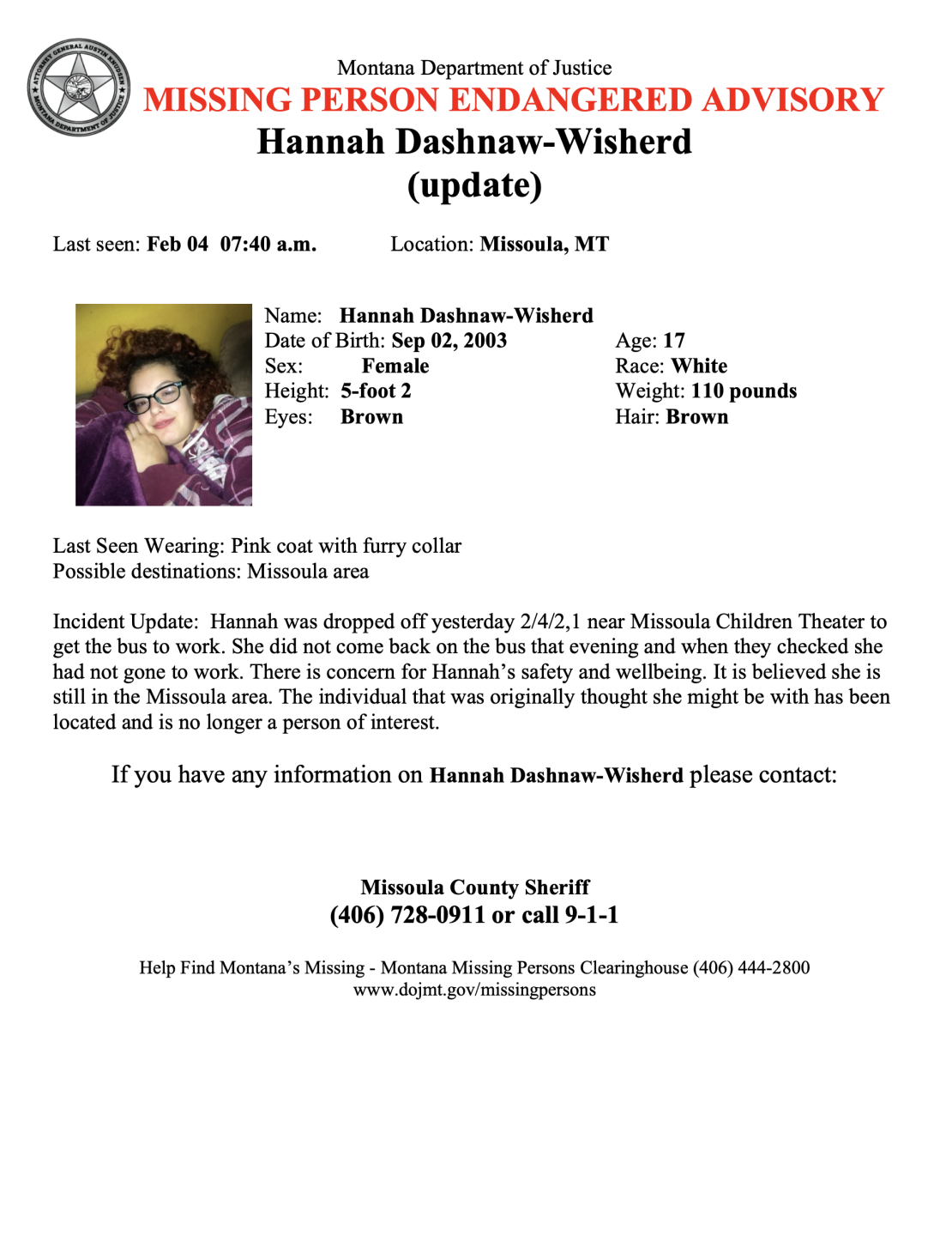 Missing and Endangered Person Advisory issued for 17 year old Hannah Dashnaw-Wisherd