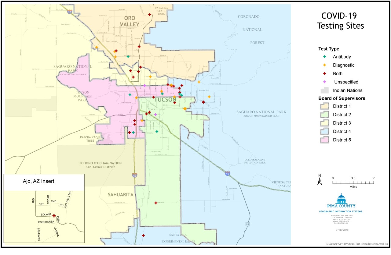 Map of testing sites throughout Pima County