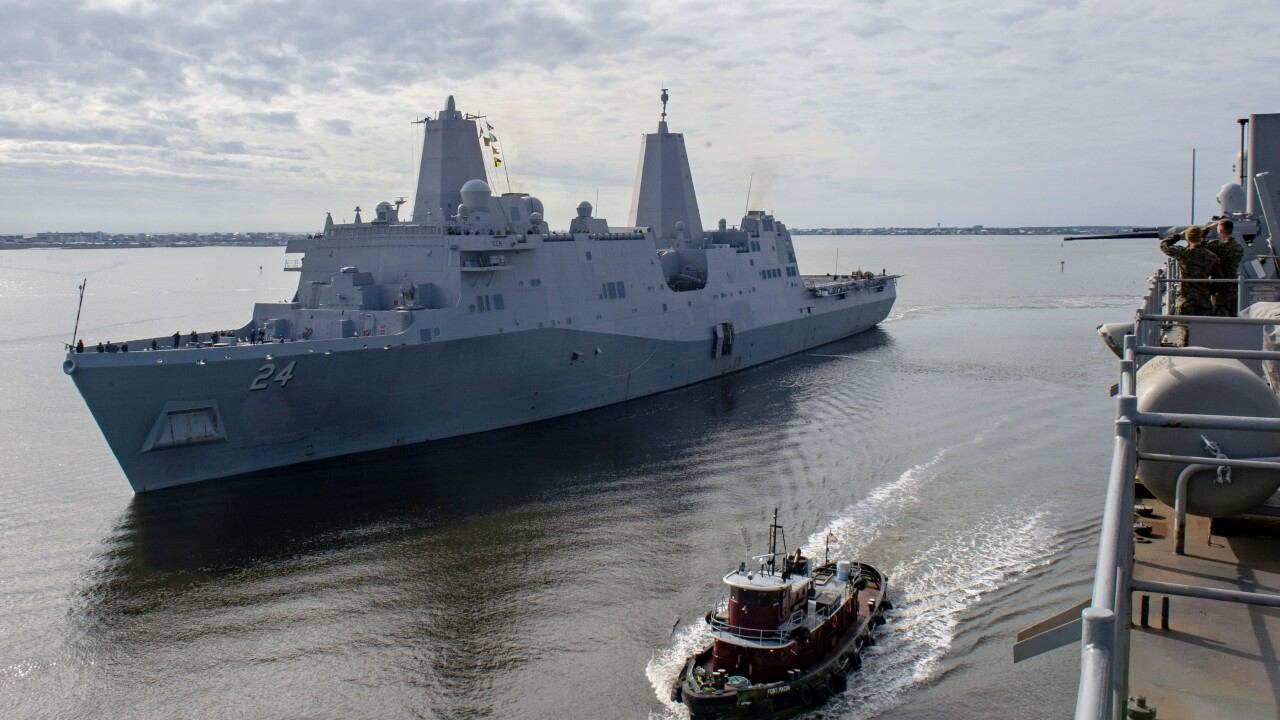 USS Arlington (LPD 24) gets underway from Morehead City, N.C.