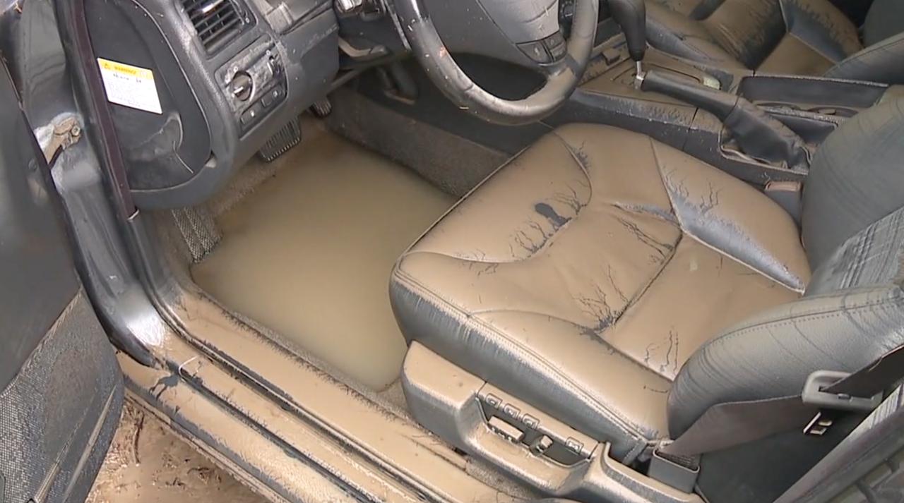 Parma flooded car