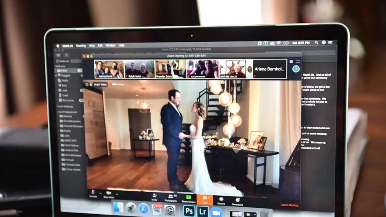Online wedding on Zoom