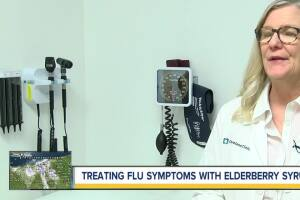 Treating flu symptoms with elderberry syrup