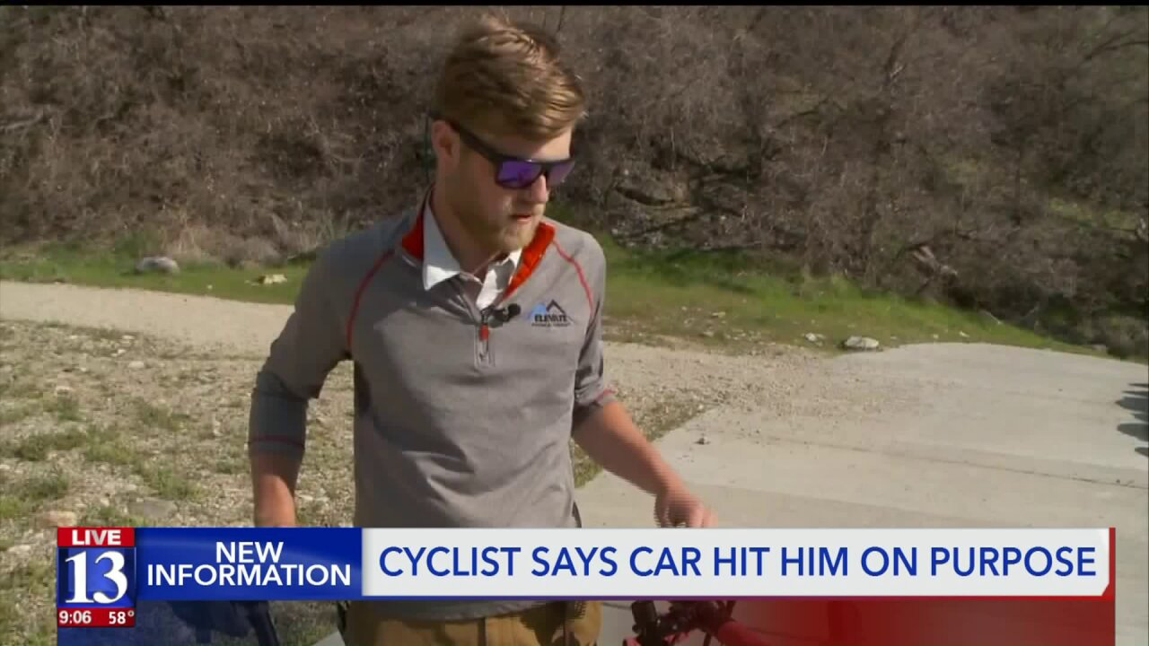 Cyclist says driver intentionally hit him