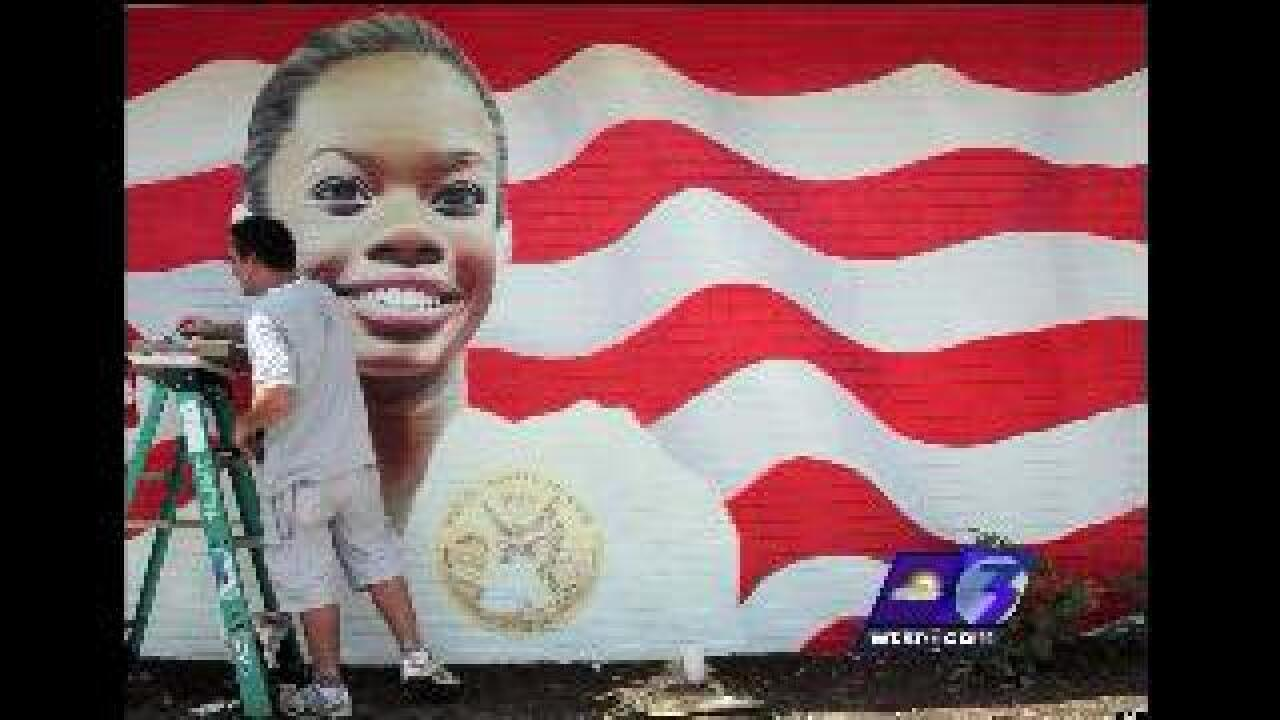 Local artists create mural of Gabby Douglas