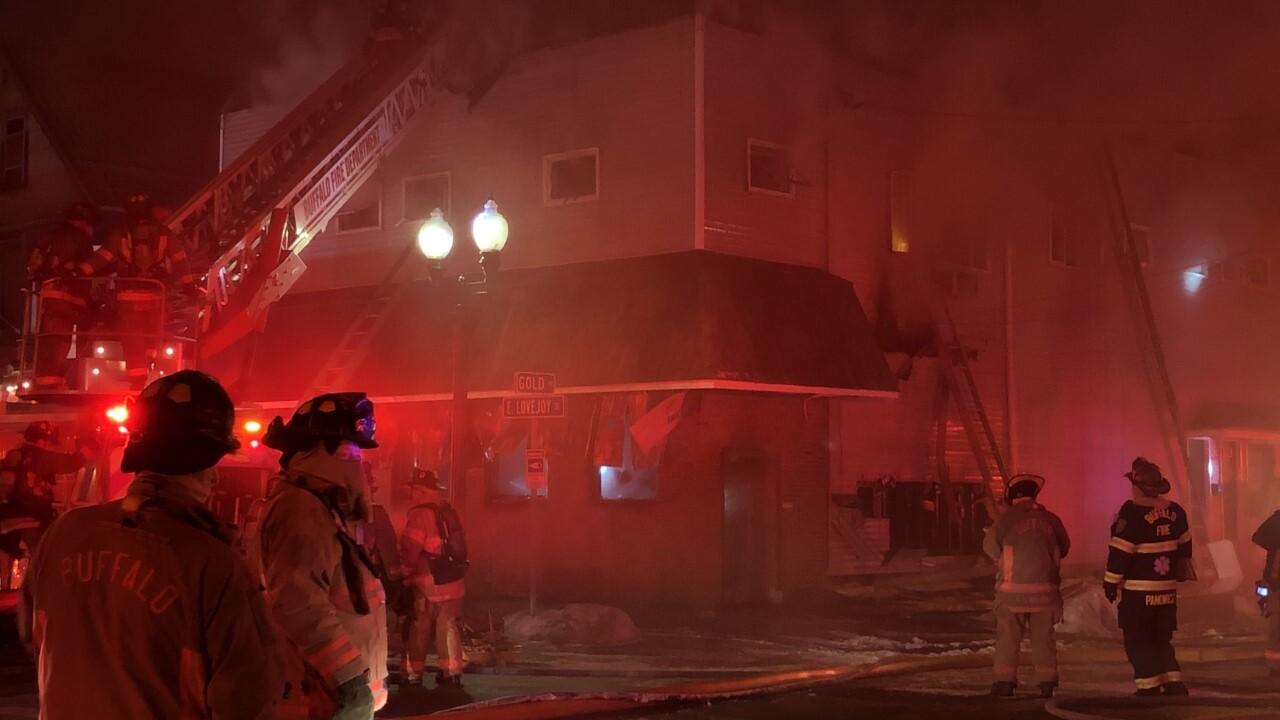 Buffalo Fire crews battle a three-alarm fire on Gold Street.