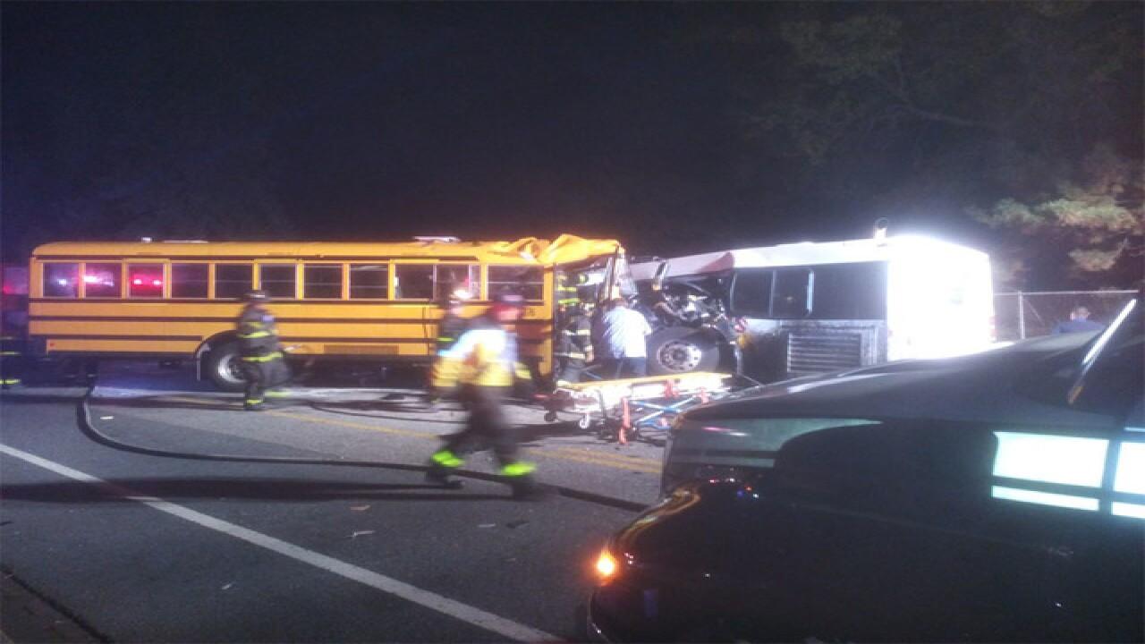 School bus, commuter bus crash in Baltimore