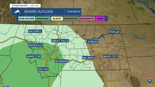 SPC Day 2 Outlook of Marginal Risk for severe storms