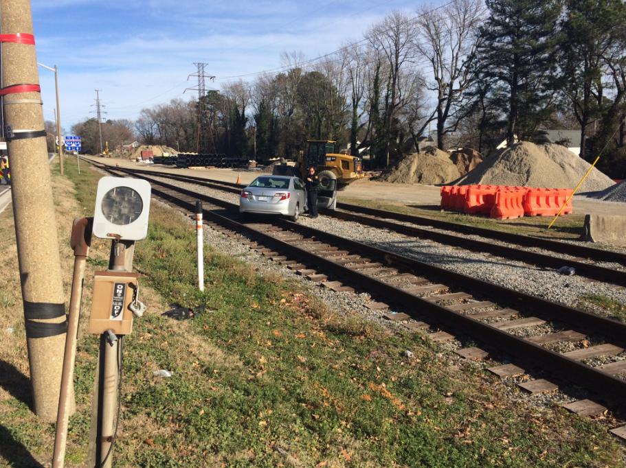 Photos: Car runs over train tracks in Norfolkcrash