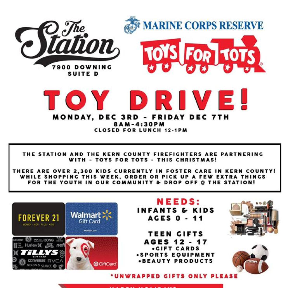 Kern County Firefighters collecting toys for Toys for Tots