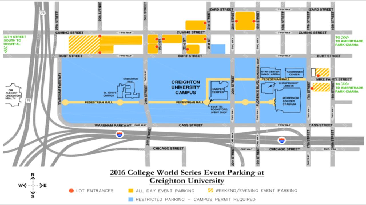 College World Series parking information