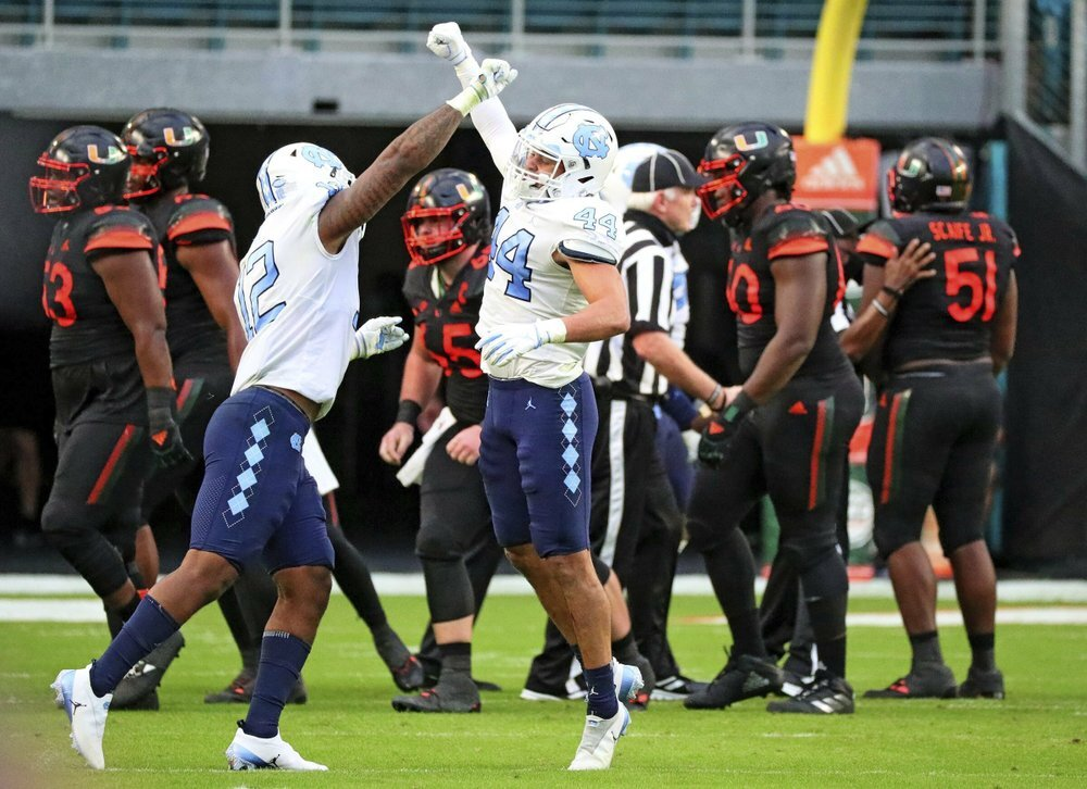 North Carolina Tar Heels celebrate vs. Miami Hurricanes in 2020