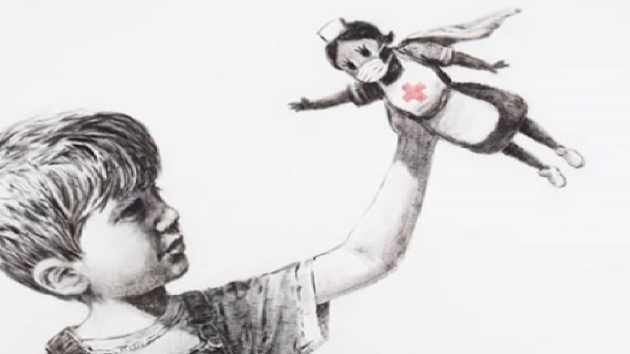 Street Artist Banksy's Latest Piece Honors 'superhero' Healthcare Workers