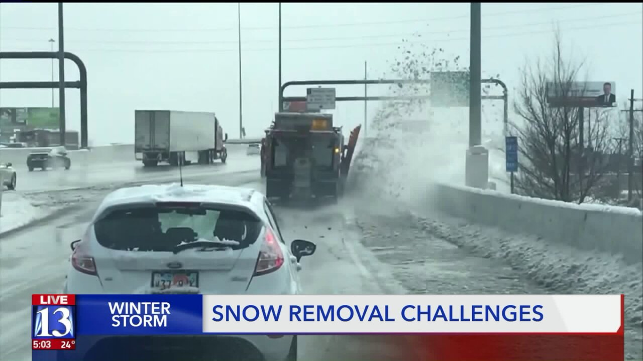 Snow plows struggle to catch up with winter storm